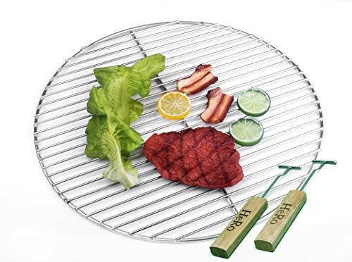 Hero Grille de barbecue en acier inoxydable 44,5 cm 4/3 mm pour barbecue sphérique 45-46-47 cm avec 2 poignées également Weber 47