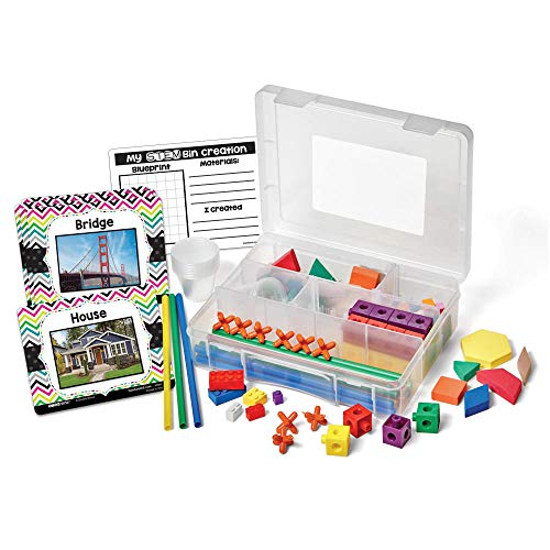 hand2mind STEM Bins Learn and Play Small Group STEM Activities for Kids Ages 5-7 STEM Bins for Elementary Engineering Hands-on STEM Kits with 6 Building Materials Pack of 4