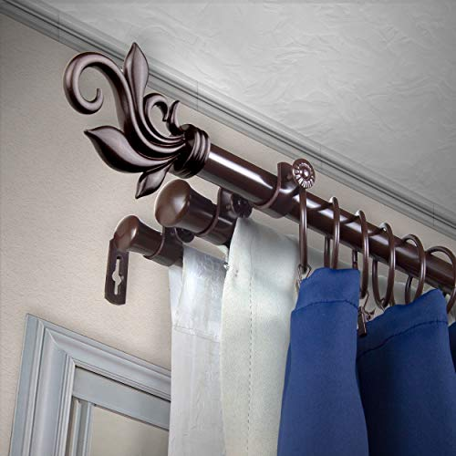 "A&F Rod Décor - Quinn 13/16"" Triple Curtain Rod 66-120 inch - Cocoa"