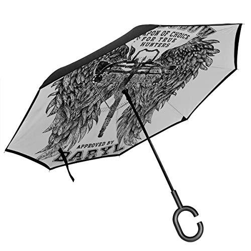 The Walking Dead Armbrust zugelassen von Daryl Doppelschichtiger umgekehrter Regenschirm für Auto, umgekehrt, faltbar, mit C-förmigen Händen, leicht und Winddicht