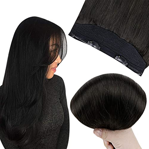 Easyouth Halo Hair Extensions Off Black Color Secret Fish Wire Hair Extensions Natural Human Hair Secret Wire Extensions Straight Hair 20Inch 100g