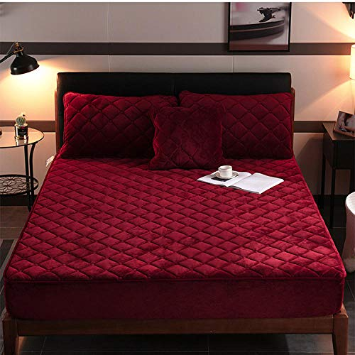 YFGY Mattress Protector Fitted Mattress Cover single,Winter thick warm velvet bedspread, Non-slip mattress cover For bedroom hotels Homestay Red 1 90x200cm