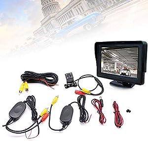 Relaxbx Moniteur LCD 4,3 Pouces Repliable Aide au stationnement avec câble de Vision Nocturne de caméra de recul 170deg;
