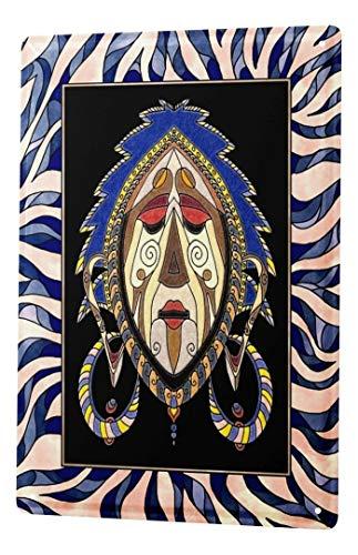 LEotiE SINCE 2004 Blechschild Welt Reise Afrika Maske Schamane Wand Deko Schild 20x30 cm Vintage Retro Wanddekoration