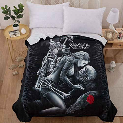 WONGS BEDDING Skull Blanket 3D Ride or Die Printed Flannel Blanket Soft Warm Reversible Fleece Throw Blanket for Bed, Couch, Camping and Travel 150x200cm