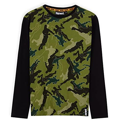 Fortnite Langarmshirt Jungen, T Shirt Jungs Camouflage, Gaming Merchandise, Coole Sachen für Jungs (Schwarz Camo, 11-12 Jahre)
