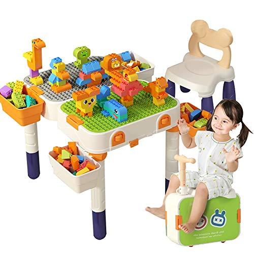 zjyfyfyf Juego de Mesa y sillas de Bloques de construcción con Almacenamiento Juego de Mesa de Actividades de construcción for niños for Escribir, Comer y Jugar Juegos