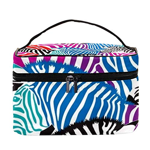 TIZORAX Zebra Tropical Leaf Cosmeticatasje Reis Toilettas Grote make-up Organizer Box
