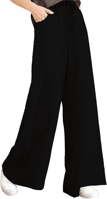 Meengg Womens Cotton Linen Trouser Drawstring Elastic Waist Capri Pants Casual Loose Fit Wide Leg Pants