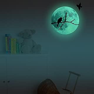 Beslpre Night Light Wall Clock,Bird Wall Clock,Creative Glow in The Dark Moon Night Luminous Removable DIY Wall Decorative