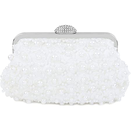 topfive Topive Weiß Pearl Clutch Abend Clutch Geldbörsen Damen Braut Clutch mit Kette Hochzeit Braut Handtasche für Damen (Weiß)