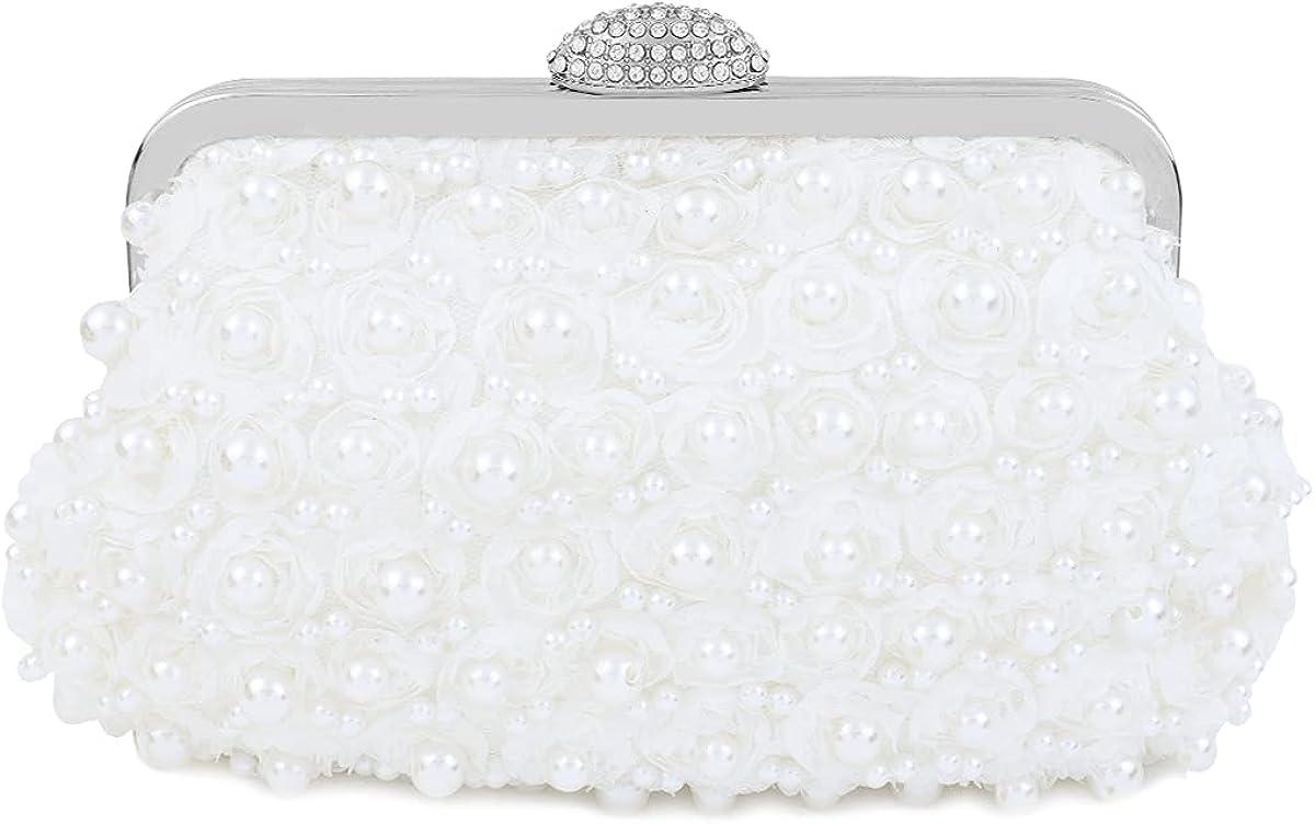 TOPFIVE Women Pearls Beaded Clutch Quality inspection Light P Luxury Wedding Soldering
