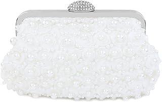 topfive Topive Weiß Pearl Clutch Abend Clutch Geldbörsen Damen Braut Clutch mit Kette Hochzeit Braut Handtasche für Damen...