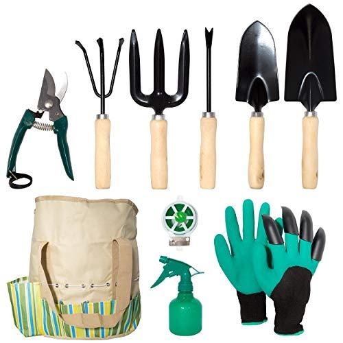 lyndeluxe Gartengerät 10Pcs, Gartenset mit Aufbewahrungstasche, Hochleistungs-Pflanzwerkzeug für Männer und Frauen