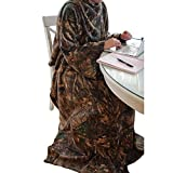 Realtree Coverall Blanket with Oversized Sleeves for Hands-Free Warmth - Multi-Use Ultra-Soft Fleece Material Coverall Blanket Hoodie - Durable and Machine Washable Material - 10.5' x 5' x 11'