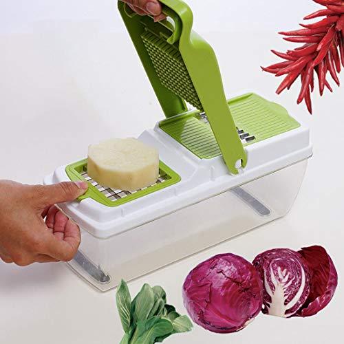 Yuyaxaf Mini-groenteschaaf, 9 in 1, multifunctioneel, voor groenten, fruit, messen van roestvrij staal, voor kaas, komkommers, uien, schiller