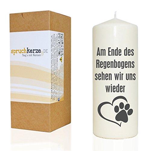 WB wohn trends Spruchkerze, Am Ende des Regenbogens. / Hund Katze, grau, 20cm, 680g d7,5cm, Trauer-Kerze mit Spruch, Brenndauer ca 70 Std