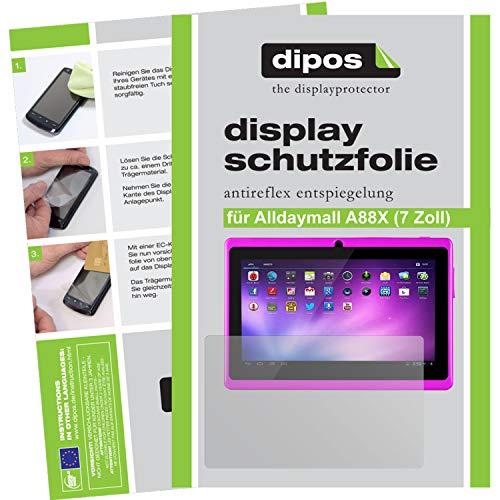 dipos I 2x Protector de Pantalla Mate compatible con Alldaymall A88X 17,8 cm (7 Zoll) pelicula Protectora