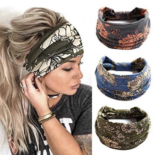 Zoestar Boho, diademas anchas para yoga, bufandas para la cabeza, elegantes estampadas, diademas elásticas turbantes para mujeres y niñas (paquete de 3)