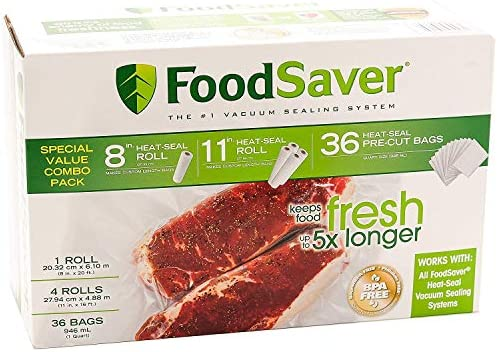 Special Value Combo Pack FoodSaver 8 11 Rolls 36 Heat Seal Pre Cut Bags BPA free product image