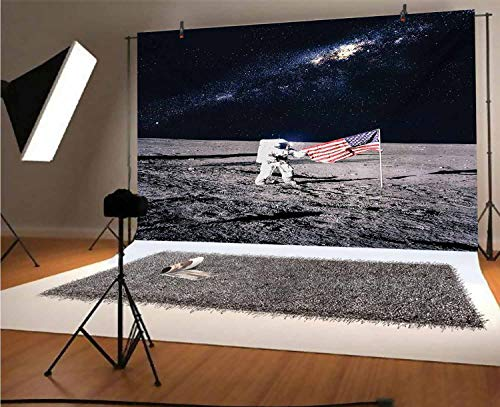 Outer Space 10x6.5 FT Vinyl Photo Backdrops,Moon Astronaut on Universe with American Flag Milky Way Inspired Future Picture Background for Selfie Birthday Party Pictures Photo Booth Shoot