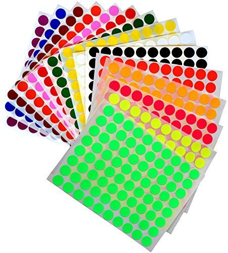 Royal Green Kids Colored Round dots ½ inch (0.5) Art Crafts and Games Stickers -1280 Pack 15 Colors 16 Sheets