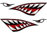 Stickers réfléchissants Alemon - Autocollants pour bateau de pêche, canoë, voiture, camion ou kayak - Accessoire graphique en forme de dents et œil de requin