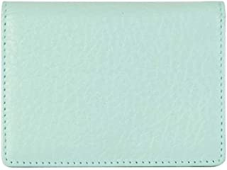 Women's Genuine Leather Business Name ID Card Holder Credit Card Case Wallet Sky Blue