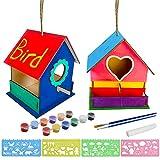 KUWAN Vogelhaus Bausatz Kinder ,2 Stück DIY vogelhaus zum bemalen Kit Vogelhaus Pigment Bemalen Unvollendete Set, Bauen und malen Sie Birdhouse Wooden Arts für Kinder