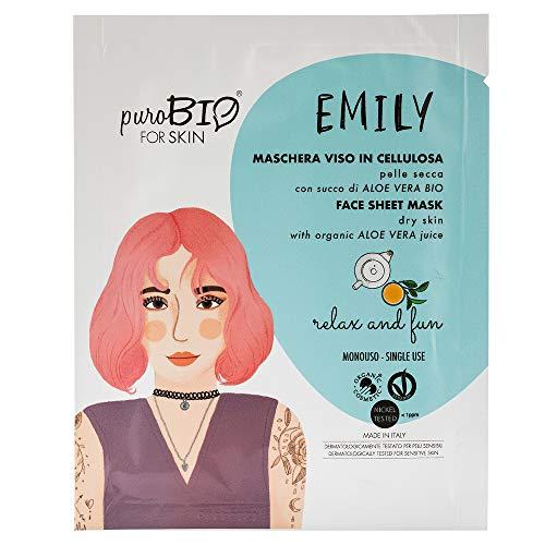 PUROBIO Emily Maschera Viso in Tessuto per Pelle Secca, 15 Relax And Fun - 15 Ml