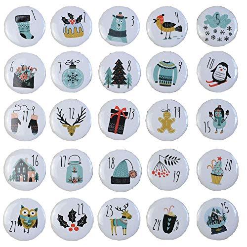 Ambolio Zahlen Anstecker,Adventskalender Zahlen,Nummer Buttons,25 Adventskalender Buttons,Weihnachtskalender Selber Basteln,Adventskalender Zahlen Aufbügeln,Adventskalender Zahlen Button Kinder. (B)