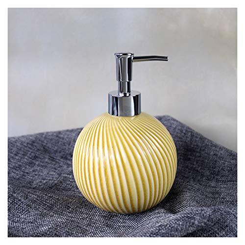 OMYLFQ Dispensadores de loción Botella de jabón de cerámica en Relieve Creativo Press Botella de Botella Loción Dispensador Dispensador de jabón Nordic Minimalista Botella de baño jabón (Color : A)