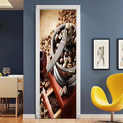 Sztuka Drzwi 3D Ziarna Kawy Ekspres Do Kawy Samoprzylepne Drzwi Tapety Pcv Home Plakat Mural