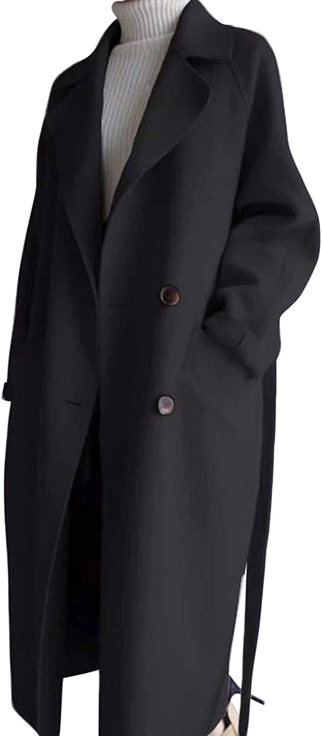 Olinase Womens Winter Long Lapel Double Breasted Wool Long Trench Coat Thick Pea Coat