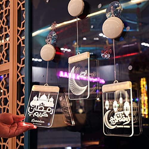 Ramadan - Farolillo LED colgado de farolillos acrílicos decorativos para el festival Ramadán, casas de media luna y mezquita, luz nocturna para el Islam Eid musulmán, 2 unidades.