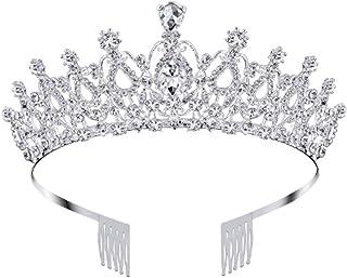 Nsiwem Corona Regina Tiara Corona di Cristallo Nuziale diadema con Cristalli Strass con Pettine Principessa diadema Strass...