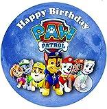 Für den Geburtstag ein Tortenbild Zuckerbild mit dem Motiv: Paw Patrol, Essbares Foto für Torten, Tortenbild, Tortenaufleger Ø 20cm - Super Qualität, 0184w
