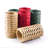 FEPITO 6 Rollos cinta rafia Cadena Kraft verde rojo 1/4...