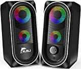 Altavoces de ordenador, NJSJ con cable RGB Gaming Speakers, control de volumen de altavoz de escritorio estéreo de 10 W, altavoces multimedia auxiliares de 3,5 mm para PC/Laptop/Tablet/Celular (negro)