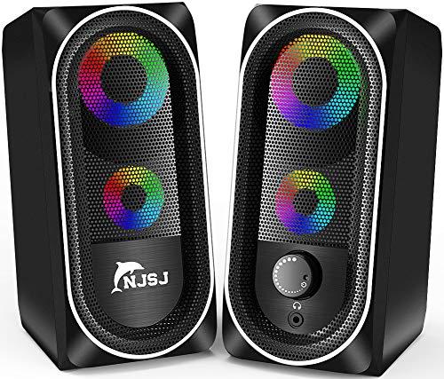Altavoces de ordenador, NJSJ con cable RGB Gaming Speakers, control de volumen de altavoz de escritorio estéreo de 10 W, altavoces multimedia auxiliares de 3,5 mm para PC/Laptop/Tablet/Celular (negro)