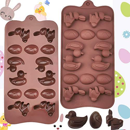 BUZIFU Molde de Silicona para Chocolate Molde de Silicona Huevos de Pascua Antiadherentes Molde de Chocolate en Forma de Conejo y Pato para Hacer Chocolates, Bombones, Dulce, Jaleas y Cubitos de Hielo