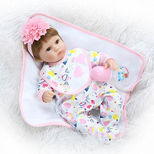 """Pinky 17/"""" Real Looking Reborn Baby Girl Doll Rooted Fiber Hair with Accessories"""