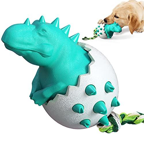 Giocattoli da masticare per cani, giocattoli in gomma durevoli per masticatori aggressivi, uova di dinosauro giocattoli resistenti per l'allenamento e la pulizia dei denti (Blu)