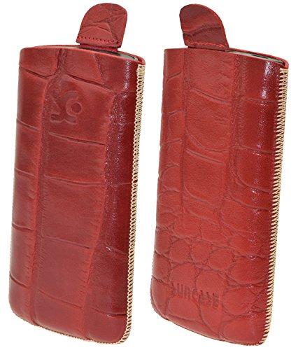Suncase Original Tasche für AEG Voxtel SM315 Leder Etui Handytasche Ledertasche Schutzhülle Hülle Hülle - Lasche mit Rückzugfunktion* in Croco-rot