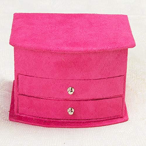 CDYEGSJ B Petite Taille Trois Couches Boîtes à Bijoux Malettes Femmes Bijoux Cadeaux Container Anniversaire Maquillage Bijoux de Cas Organisateur (Color : Rose Red)