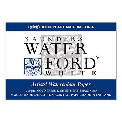 ホルベイン ウォーターフォード水彩紙 ブロック 中紙300g(中厚口) 中目 ホワイト 12枚とじ 270-931 EHB-SM