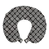 ABAKUHAUS Geométrico Cojín de Viaje para Soporte de Cuello, Cuadrados Irregulares Redondeadas, de Espuma con Memoria Respirable y Cómoda, 30x30 cm, Gris y del Off White