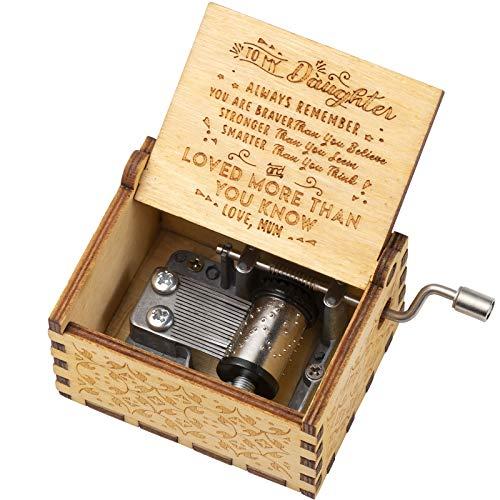 Diealles Shine Handkurbel Spieluhr, Mama zu Tochter Spieluhr Holz, Handgraviert Hölzerne Spieluhr für Geschenk