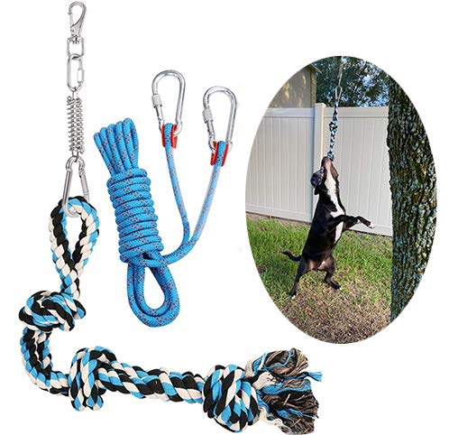 Meieke Spring Pole Dog Rope Toys Dog Outdoor Bungee Hanging Toy Muscle Builder Interactive Tether Tug Toy for Pitbull & Medium to Large Dogs