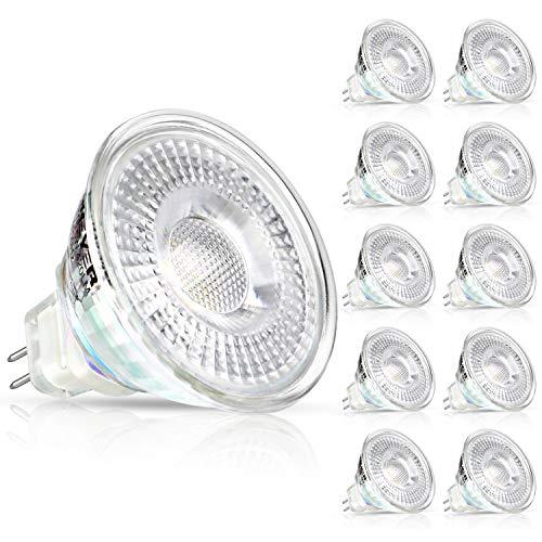 Creyer 10er Pack MR16 GU5.3 LED Lampen, 420LM, 5W Ersatz für 50W Halogenlampen, Warmweiß(2900K), Nicht Dimmbar, 12V AC/DC, LED-Reflektorlampe mit GU5.3-Sockel